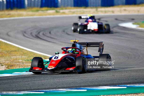 David Schumacher of Germany and Trident drives during day two of Formula 3 Testing at Circuito de Jerez on May 13, 2021 in Jerez de la Frontera,...