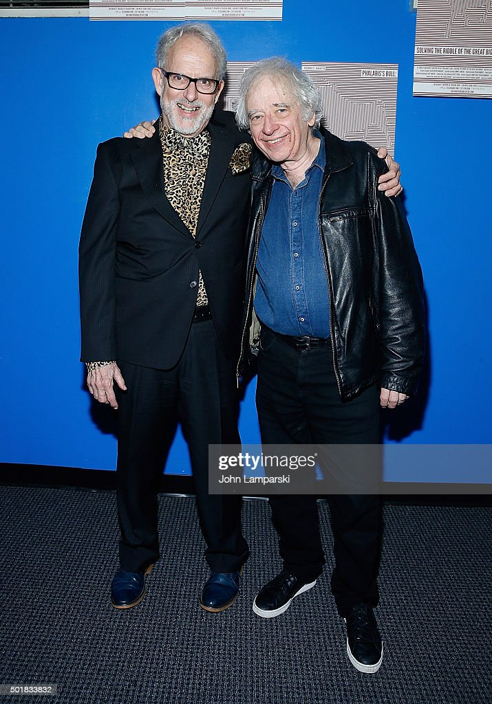 David Schweizer (L) and Austin Pendleton attend 'Phalaris's Bull: Solving The Riddle Of The Great Big World' opening night at Beckett Theatre on December 17, 2015 in New York City.