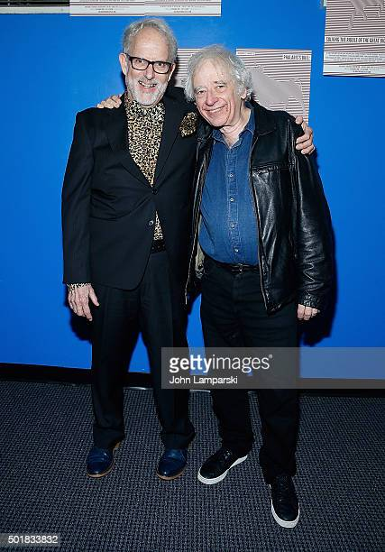 David Schweizer and Austin Pendleton attend 'Phalaris's Bull Solving The Riddle Of The Great Big World' opening night at Beckett Theatre on December...