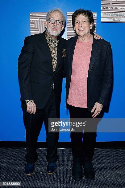 David Schweizer and Steven Friedman attend 'Phalaris's Bull Solving The Riddle Of The Great Big World' opening night at Beckett Theatre on December...