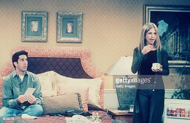 """David Schwimmer and Jennifer Aniston star in """"Friends"""" Year 5 1999 Warner Bros. International Television Distribution. All Rights Reserved"""