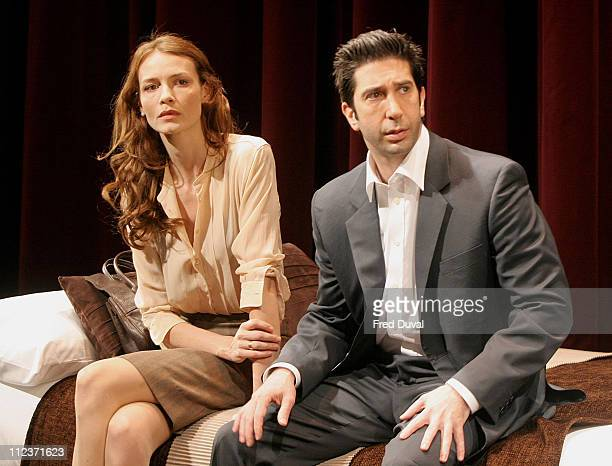 David Schwimmer and Saffron Burrows during Some Girl Play Photocall May 19 2005 at Gielgud Theatre in London in London United Kingdom