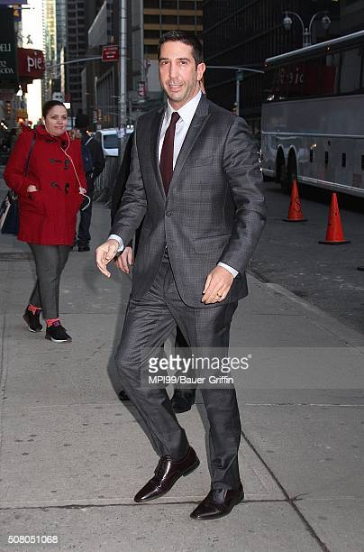 David Schwimmer arrives at the 'The Late Show with Stephen Colbert' on February 02 2016 in New York City