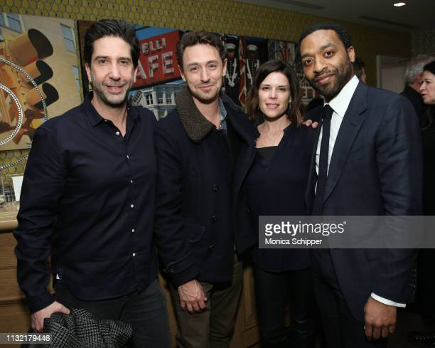 David Schwimmer JJ Feild Neve Campbell and director Chiwetel Ejiofor attend The Boy Who Harnessed The Wind Special Screening hosted by Angelina Jolie...