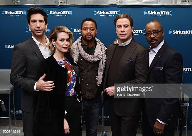 David Schwimmer Sarah Paulson Cuba Gooding Jr John Travolta and Courtney B Vance visit the SiriusXM Studios on December 7 2015 in New York City
