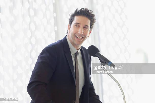 David Schwimmer speaks onstage during The Rape Foundation's Annual Brunch on October 7 2018 in Beverly Hills California