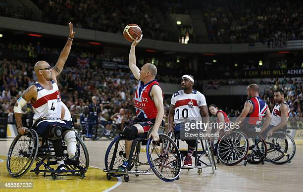 David Scott of Great Britain in action against the USA during the gold medal match of the wheelchair basketball at Olympic Park on September 13 2014...