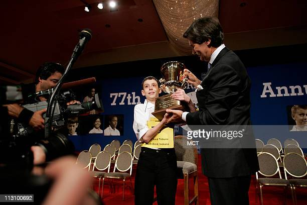 WASHINGTON DC WASHINGTON DC David Scott Tidmarsh of South Bend Indiana holds up his trophy after he won the 77th National Spelling Bee on Thursday...