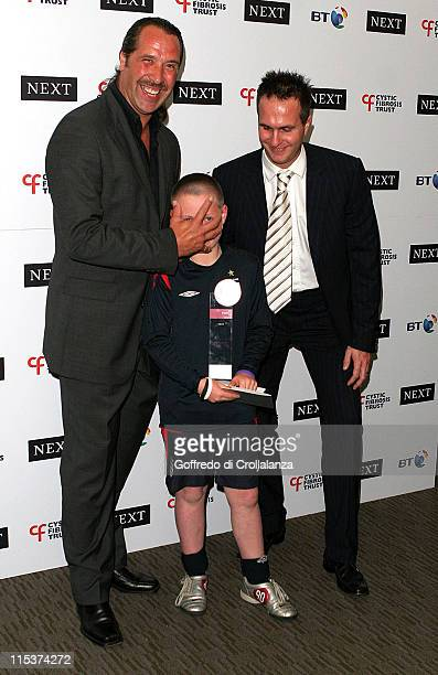 David Seaman and Michael Vaughan during Cystic Fibrosis Breathing Life Awards Press Room at Royal Lancaster Hotel in London Great Britain