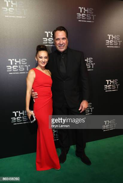David Seaman and wife Frankie Poultney arrive for The Best FIFA Football Awards Green Carpet Arrivals on October 23 2017 in London England