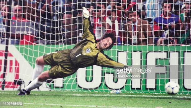 David Seaman during the penalty shoot out FIFA World Cup in France at the State GeofforyGuichard in SaintEtienne 30th June 1998
