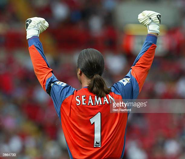 David Seaman of Manchester City celebrates during the FA Barclaycard Premiership match between Charlton Athletic and Manchester City held on August...