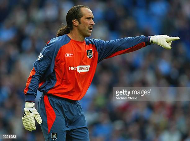 David Seaman of Manchester City in action during the FA Barclaycard Premiership match between Manchester City and Tottenham Hotspur held on September...