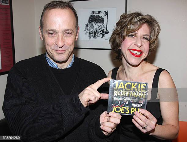 David Sedaris and Jackie Hoffman pose backstage at Jackie Hoffman in Scraping The Bottom Holiday Edition at Joe's Pub on December 8 2008 in New York...