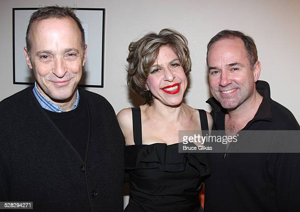 David Sedaris Jackie Hoffman and Stephen Flaherty pose bacstage at Jackie Hoffman in Scraping The Bottom Holiday Edition at Joe's Pub on December 8...