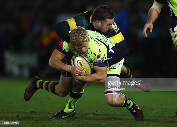 David Seymour of Sale Sharks in action during the Aviva Premiership match between Northampton Saints and Sale Sharks at Franklin's Gardens on...