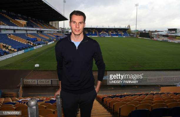David Sharpe, CEO of Mansfield Town FC at the Field Mill stadium, home to the club in Mansfield, northern England on October 26, 2020. - Football...