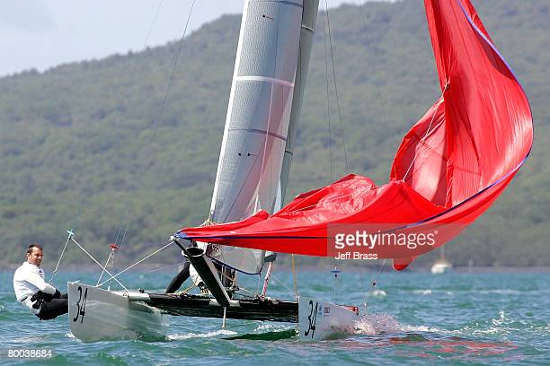 David Shaw and Susan Shaw of New Zealand round the top mark during the 2008 Tornado World Championships held in the Waitemata Harbour February 28...