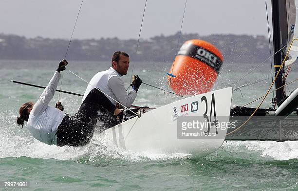 David Shaw and Susan Shaw of New Zealand sail during the 2008 Tornado World Championships held in the Waitemata Harbour February 25 2008 in Takapuna...