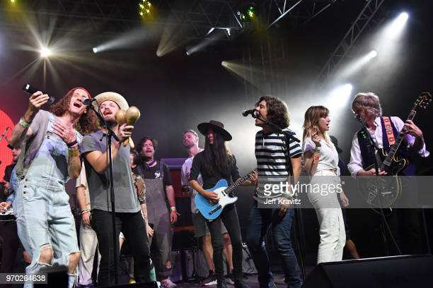 David Shaw of The Revivalists Wild Feathers Frenship Craig Pfunder of VHS or Beta and Pat Sansone of Wilco perform onstage during 'Into The Great...