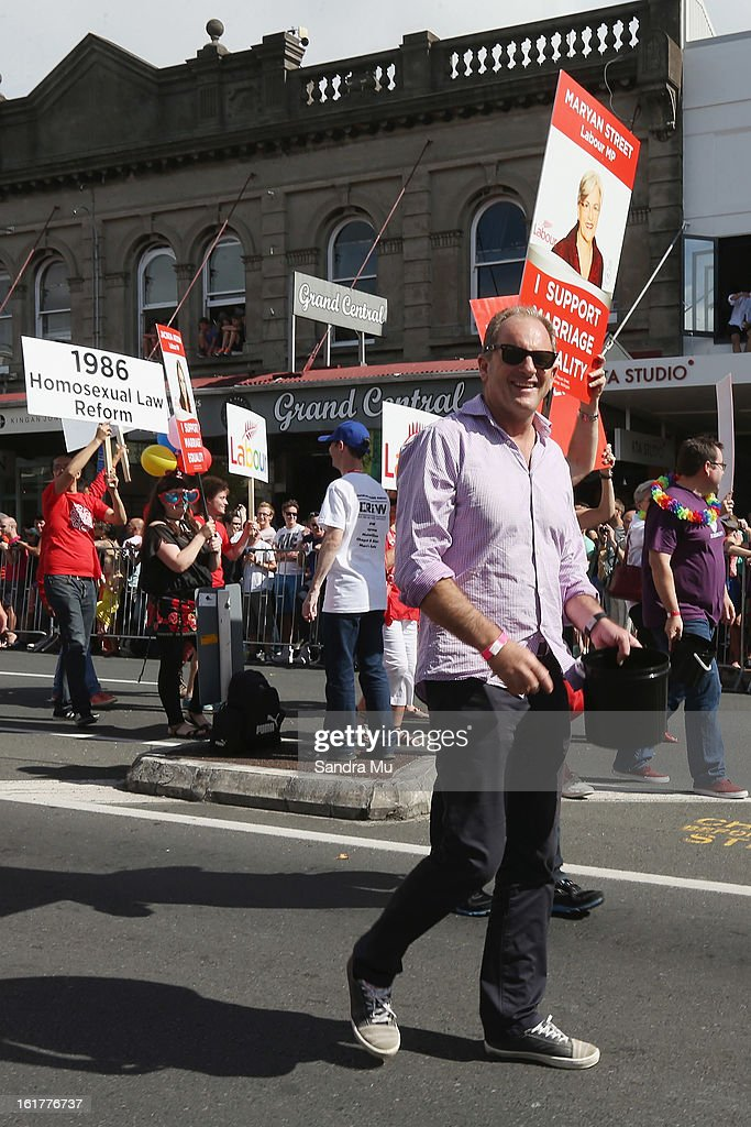 David Shearer, Labour Leader participates in the parade down Ponsonby Road during the Pride parade on February 16, 2013 in Auckland, New Zealand. The gay parade, celebrating lesbian, gay, bisexual and transgender (LGBT) culture has returned to Ponsonby Road after 10 years and organisers plan to put the parade on the tourism map, in the style of the Sydney Mardi Gras.