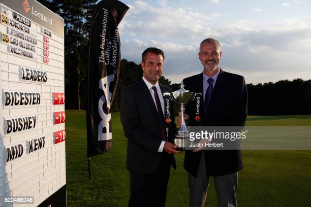 David Sheilds and Peter Thompson of Bicester Golf Club plays after winning The Lombard Trophy PGA South Qualifier at Camberley Heath Golf Club on...