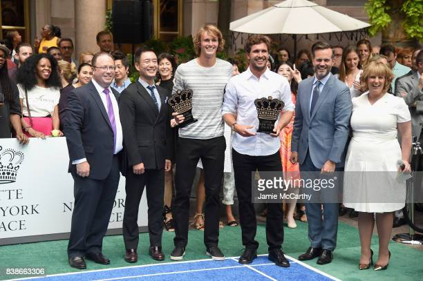 David Shenman Hyukbum Kwon Alexander Zverev Rafael Nadal Fred Dixon and Becky Hubbard attend the 2017 Lotte New York Palace Invitational at Lotte New...