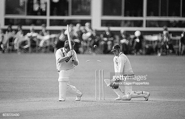 David Shepherd of Gloucestershire is bowled by Peter Sainsbury of Hampshire during the County Championship match between Hampshire and...