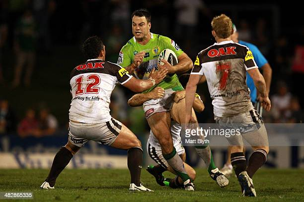 David Shillington of the Raiders is tackled during the round five NRL match between the Penrith Panthers and Canberra Raiders at Sportingbet Stadium...