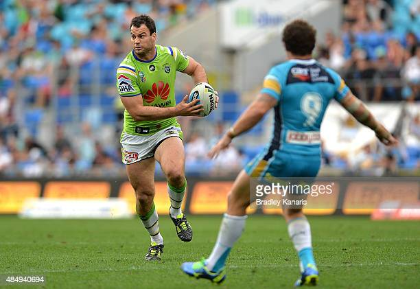 David Shillington of the Raiders runs with the ball during the round 24 NRL match between the Gold Coast Titans and the Canberra Raiders at Cbus...