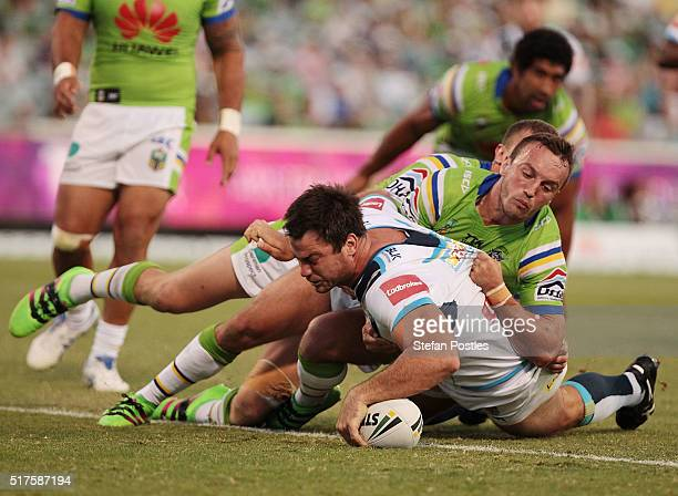 David Shillington of the Titans scores a try during the round four NRL match between the Canberra Raiders and the Gold Coast Titans at GIO Stadium on...