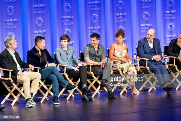 David Shore Daniel Dae Kim Freddie Highmore Nicholas Gonzalez Antonia Thomas and Richard Schiff attend the panel discussion at the 2018 PaleyFest Los...