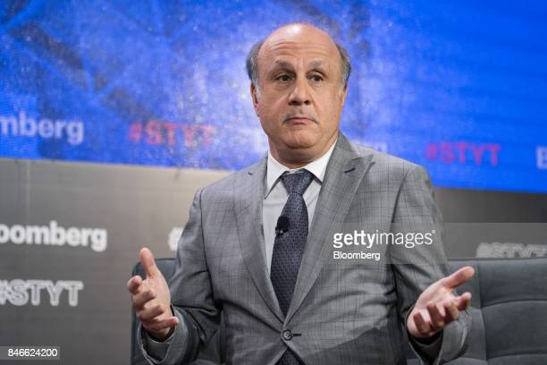 David Siegel cofounder of Two Sigma Investments LP gestures during a Bloomberg Technology event in New York US on Wednesday Sept 13 2017 The event...