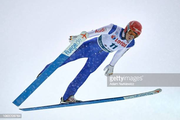 David Siegel from Germany soars through the air during FIS Ski Jumping World Cup 20182019 Men's HS134 on November 18 2018 in Wisla Poland