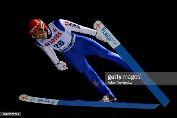 David Siegel from Germany soars through the air while qualification of Men'u2019s Individual HS134 on November 16 2018 in Wisla Poland