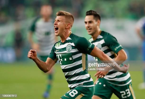 David Siger of Ferencvarosi TC celebrates his goal with Lukacs Bole of Ferencvarosi TC during the Hungarian OTP Bank Liga match between Ferencvarosi...