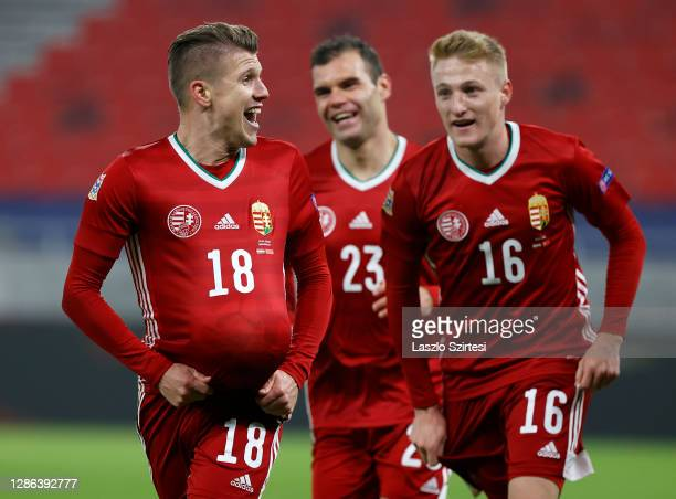 David Siger of Hungary celebrates after scoring their team's first goal during the UEFA Nations League group stage match between Hungary and Turkey...