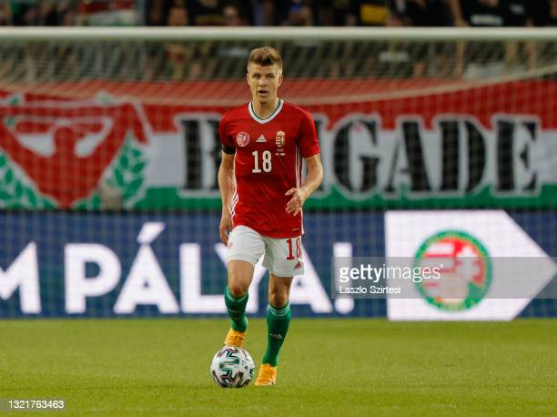 David Siger of Hungary controls the ball during the International Friendly match between Hungary and Cyprus at Ferenc Szusza Stadium on June 4, 2021...