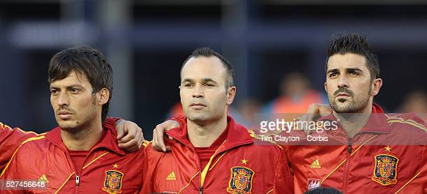 David Silva Andres Iniesta and David Villa Spain during the National Anthem before the Spain V Ireland International Friendly football match at...