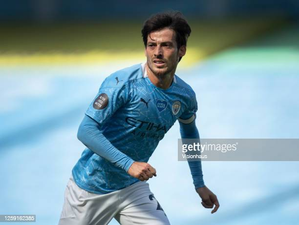 David Silva in action during his last game for Manchester City during the Premier League match between Manchester City and Norwich City at the Etihad...