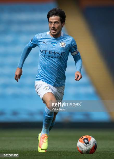 David Silva in action during his last match for Manchester City during the Premier League match between Manchester City and Norwich City at the...