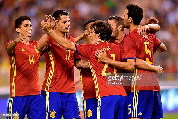 David Silva midfielder of Spain celebrates scoring a goal from penalty during a FIFA international friendly match between Belgium and Spain at the...