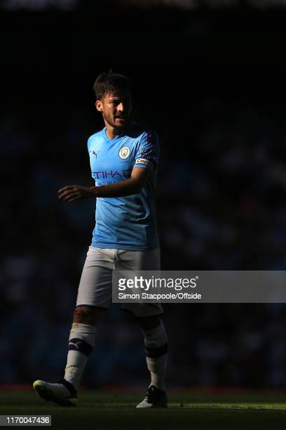 David Silva of Man City looks back during the Premier League match between Manchester City and Watford FC at the Etihad Stadium on September 21, 2019...