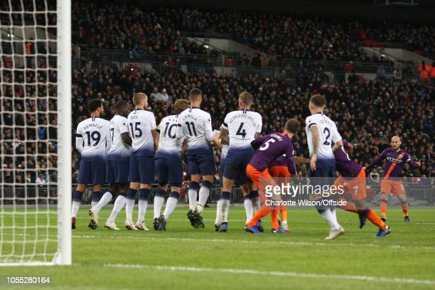 David Silva of Man City sees his free kick hit a dense Tottenham wall during the Premier League match between Tottenham Hotspur and Manchester City...