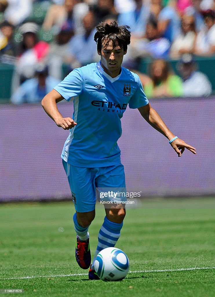 David Silva #21 of Manchester City against Los Angeles Galaxy during the Herbalife World Football Challenge 2011 friendly soccer match at the Home Depot Center on July 24, 2011 in Carson, California