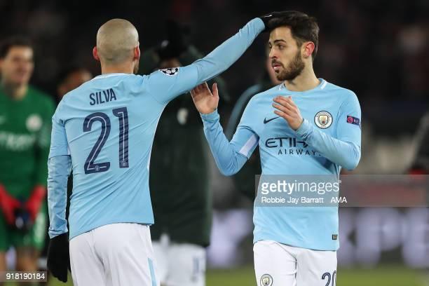David Silva of Manchester City and Bernardo Silva of Manchester City during the UEFA Champions League Round of 16 First Leg match between FC Basel...