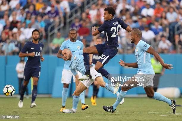 David Silva of Manchester City and Dele Alli of Tottenham Hotspur during the International Champions Cup 2017 match between Manchester City and...