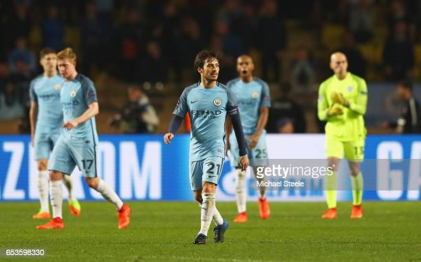 David Silva of Manchester City and ream mates look dejected as Tiemoue Bakayoko of AS Monaco scores their third goal during the UEFA Champions League...
