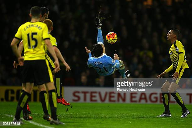 David Silva of Manchester City attempts an overhead kikc during the Barclays Premier League match between Watford and Manchester City at Vicarage...