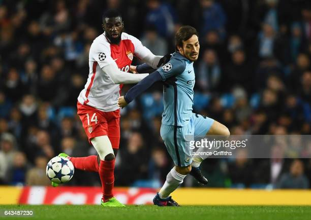 David Silva of Manchester City battles with Tiemoue Bakayoko of AS Monaco during the UEFA Champions League Round of 16 first leg match between...